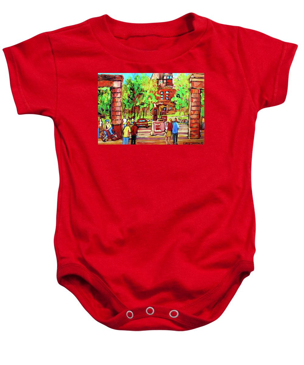 Montreal Baby Onesie featuring the painting Downtown Montreal Mcgill University Streetscenes by Carole Spandau