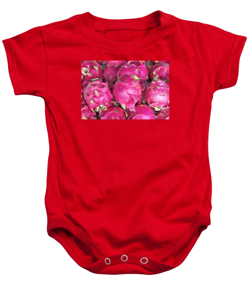 Dragon Baby Onesie featuring the photograph Dragon Fruit Closeup Background by Jit Lim