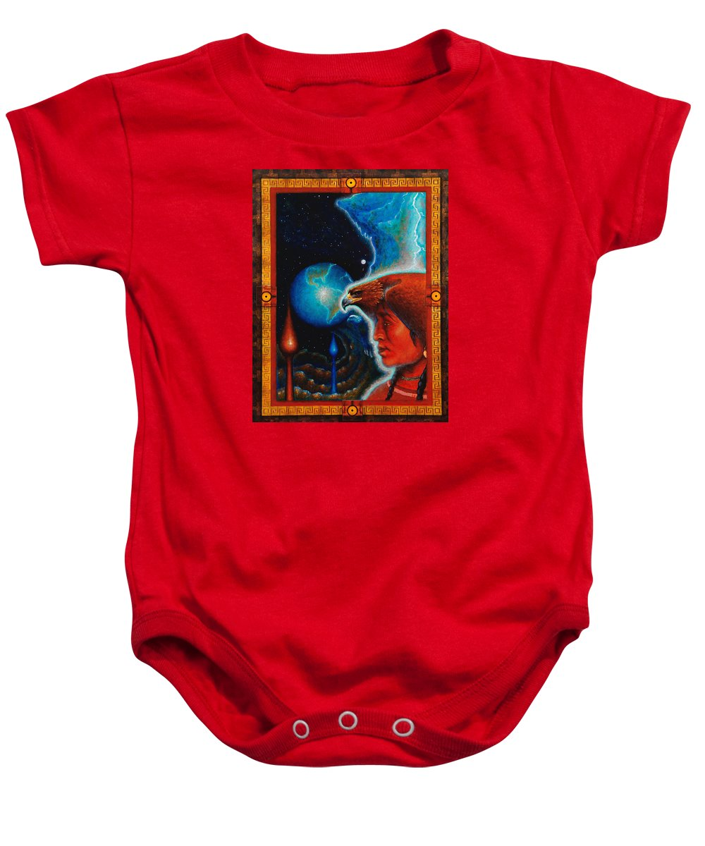 Native American Baby Onesie featuring the painting Eagle's Roost by Kevin Chasing Wolf Hutchins