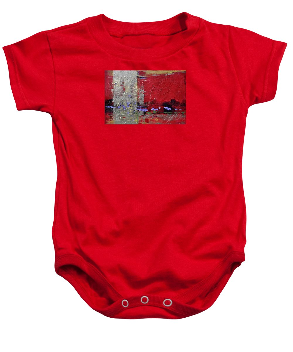 Red Gold Black Purple Texture Non-objective Baby Onesie featuring the painting Elan by Ginger Concepcion