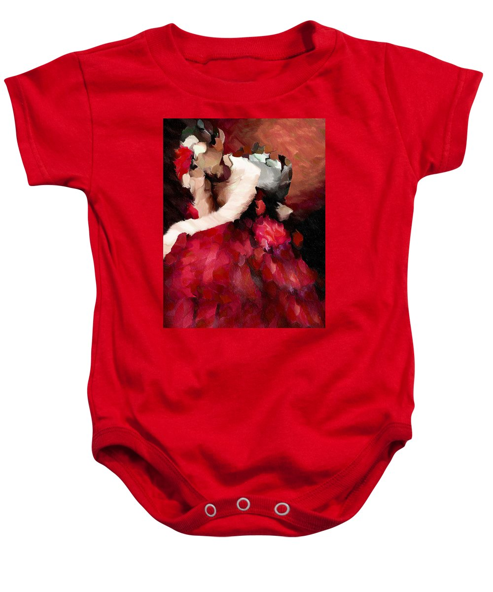 Abstract Baby Onesie featuring the mixed media Enigma Of A Geisha - Abstract Realism by Georgiana Romanovna