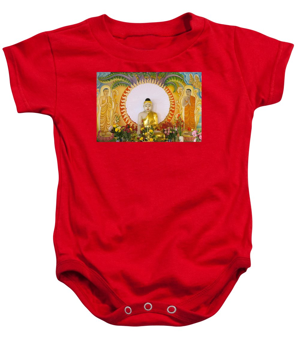 Buddha Baby Onesie featuring the photograph Enlightened Buddha Sitting Under The Bodhi Tree by Jit Lim