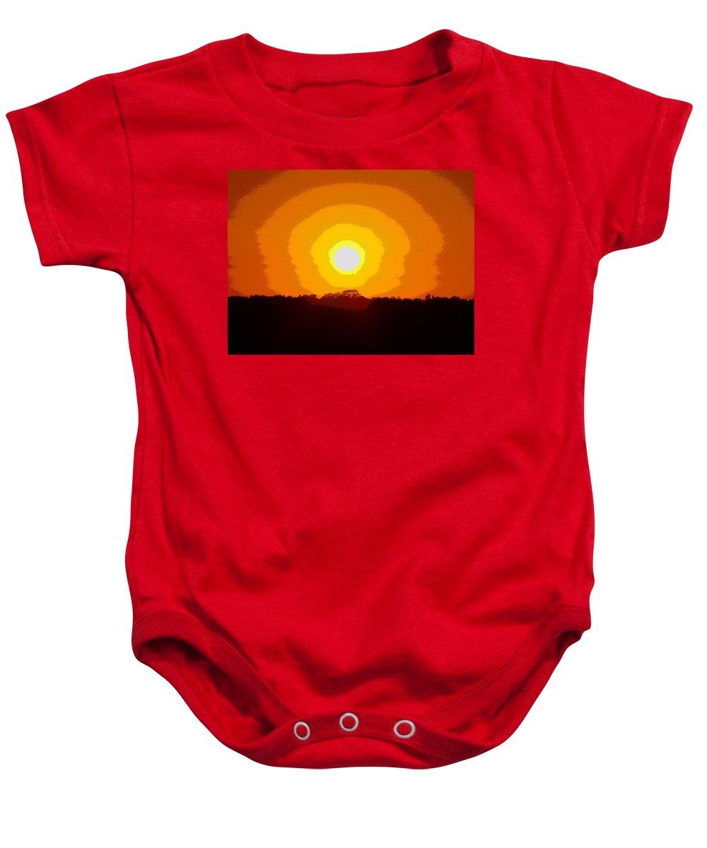 Solarized Baby Onesie featuring the digital art Eternal Sun - Amazing Sunset Photograph - Painting Like by James Scott Preston