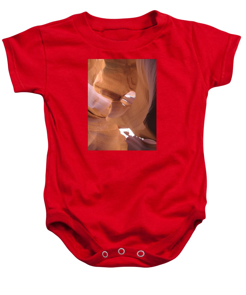 Narrow Canyon Baby Onesie featuring the photograph Face In The Stone by Christiane Schulze Art And Photography