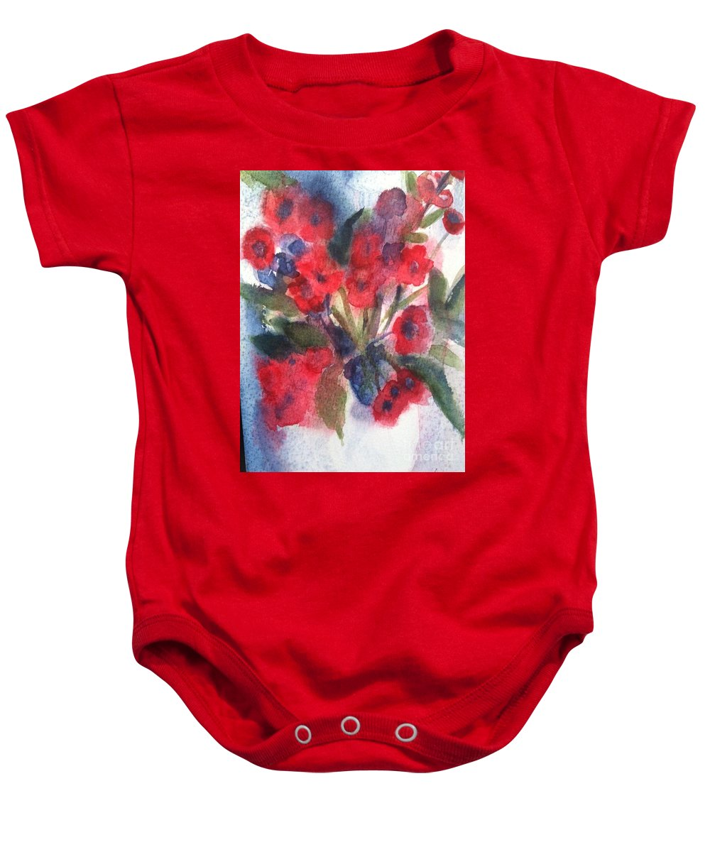 Orchards Baby Onesie featuring the painting Faded Memories by Sherry Harradence