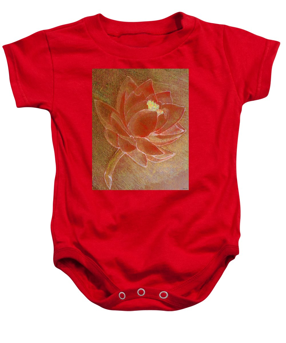 Lotus Baby Onesie featuring the painting Fading Lotus by Catherine Harms