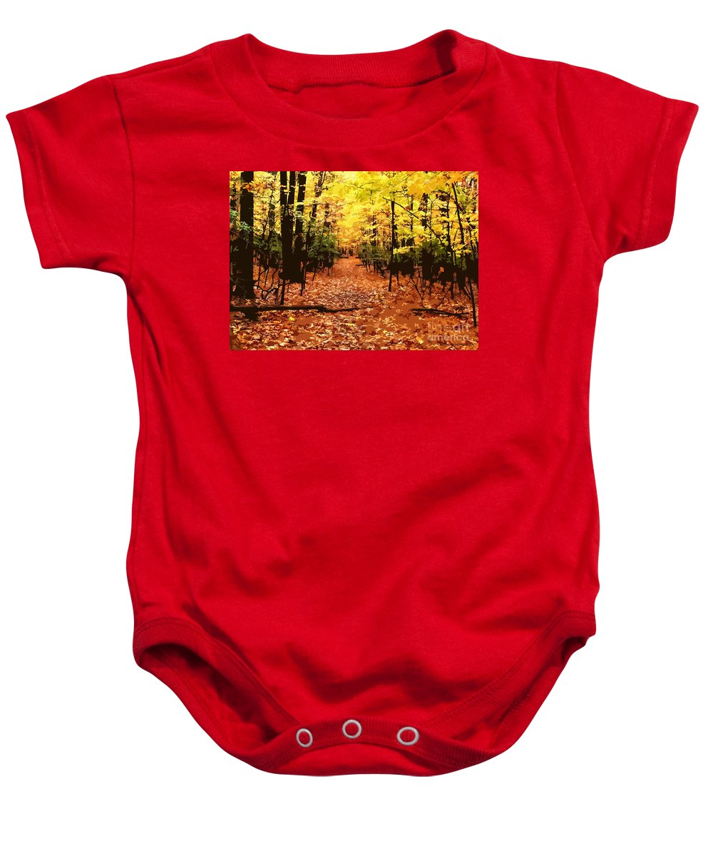 Fall Baby Onesie featuring the photograph Fall Path by Jefferson Hobbs