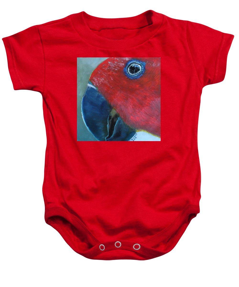 Bird Baby Onesie featuring the painting Female Eclectus by Claudia Goodell