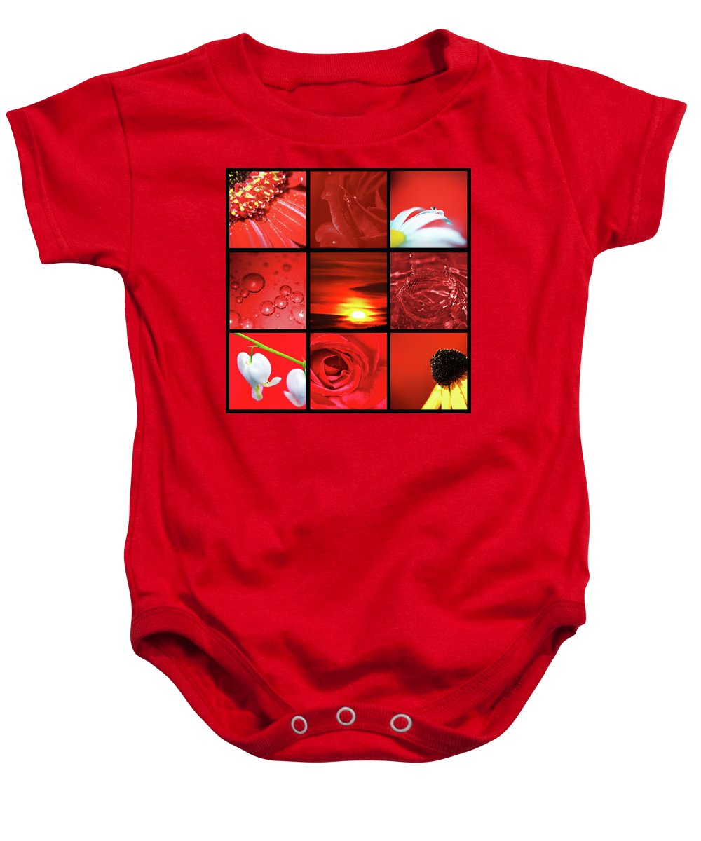 Lisa Knechtel Baby Onesie featuring the photograph Fiery Red by Lisa Knechtel
