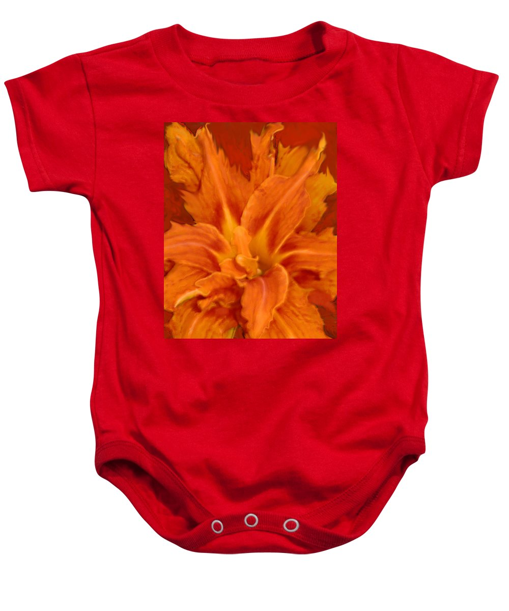 Lily Baby Onesie featuring the painting Fire Lily by Anne Cameron Cutri