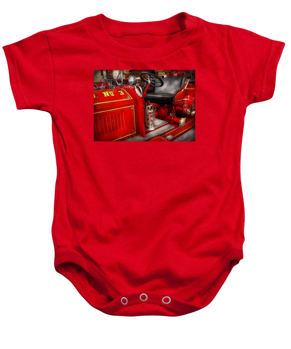 Savad Baby Onesie featuring the photograph Fireman - Fire Engine No 3 by Mike Savad