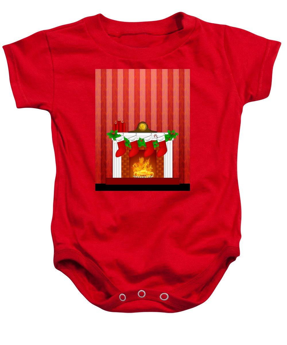 Fireplace Baby Onesie featuring the digital art Fireplace Christmas Decoration Wth Stockings And Wallpaper by Jit Lim