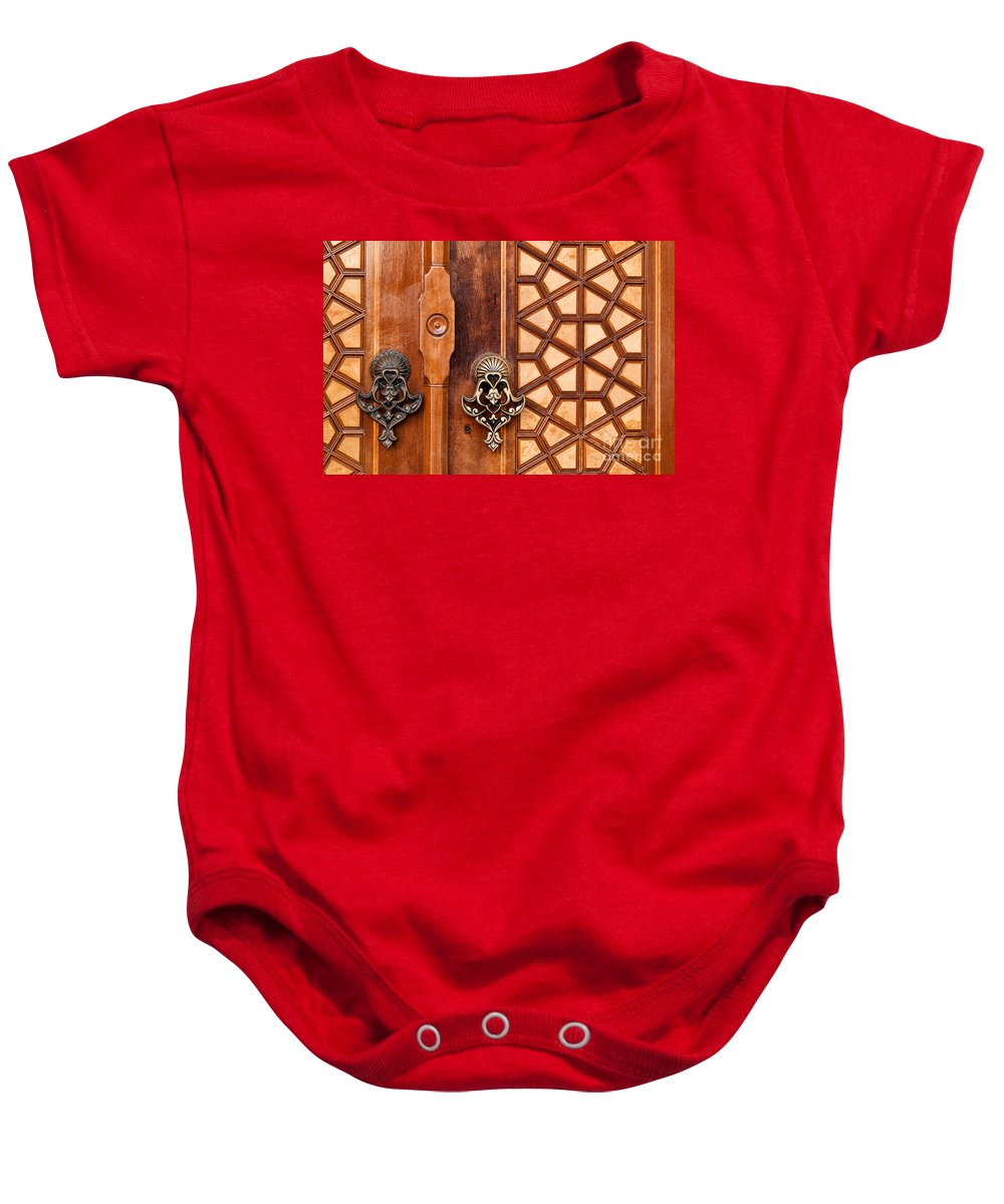 Istanbul Baby Onesie featuring the photograph Firuz Aga Mosque Door 01 by Rick Piper Photography