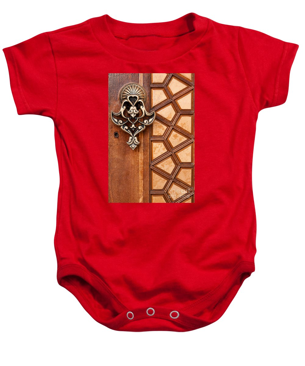 Istanbul Baby Onesie featuring the photograph Firuz Aga Mosque Door 04 by Rick Piper Photography