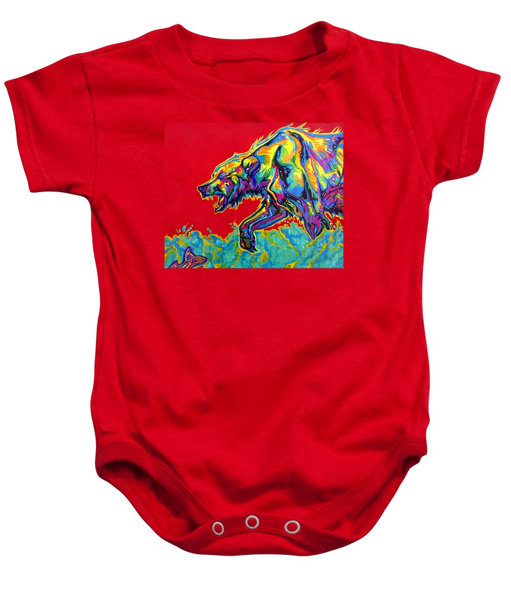 Bear Baby Onesie featuring the painting Fishing Bear by Derrick Higgins