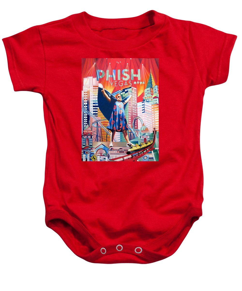 Phish Baby Onesie featuring the drawing Fishman In Vegas by Joshua Morton