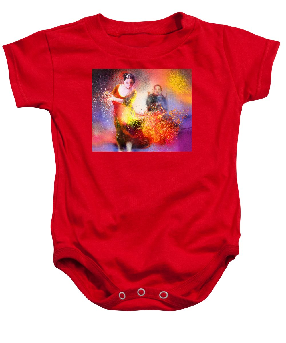 Flamenco Painting Baby Onesie featuring the painting Flamencoscape 11 by Miki De Goodaboom