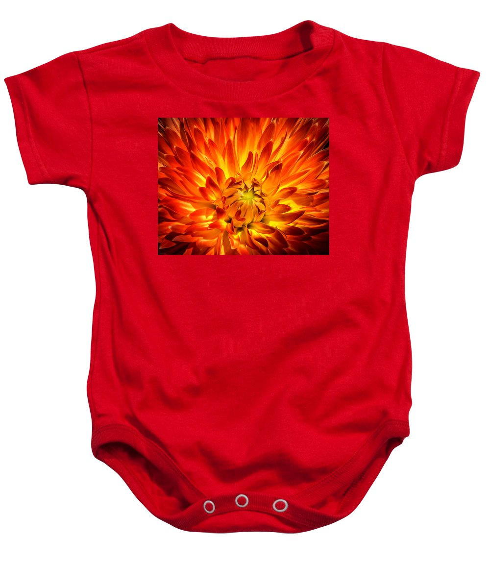 Dahlia Baby Onesie featuring the photograph Flaming Dahlia - Paintography by Dawn M Smith