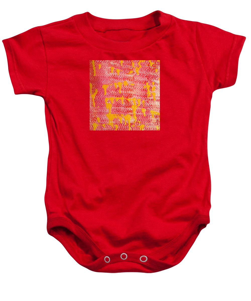 Acrylics On Canvas Baby Onesie featuring the painting Flaming Fire by Elizabeth Harshman