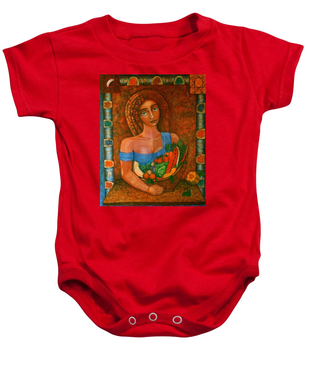 Acrylic Baby Onesie featuring the painting Flora - Goddess Of The Seeds by Madalena Lobao-Tello