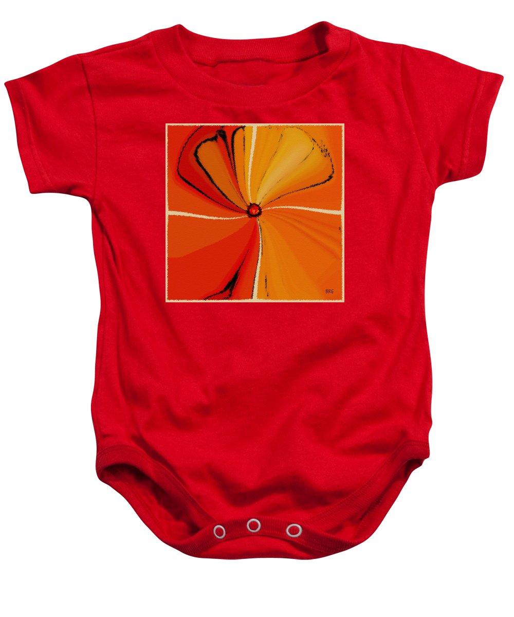 Orange Flower Baby Onesie featuring the digital art Flower Arrangement by Ben and Raisa Gertsberg