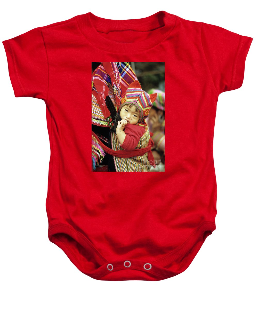 Flower Hmong Baby Onesie featuring the photograph Flower Hmong Baby 01 by Rick Piper Photography