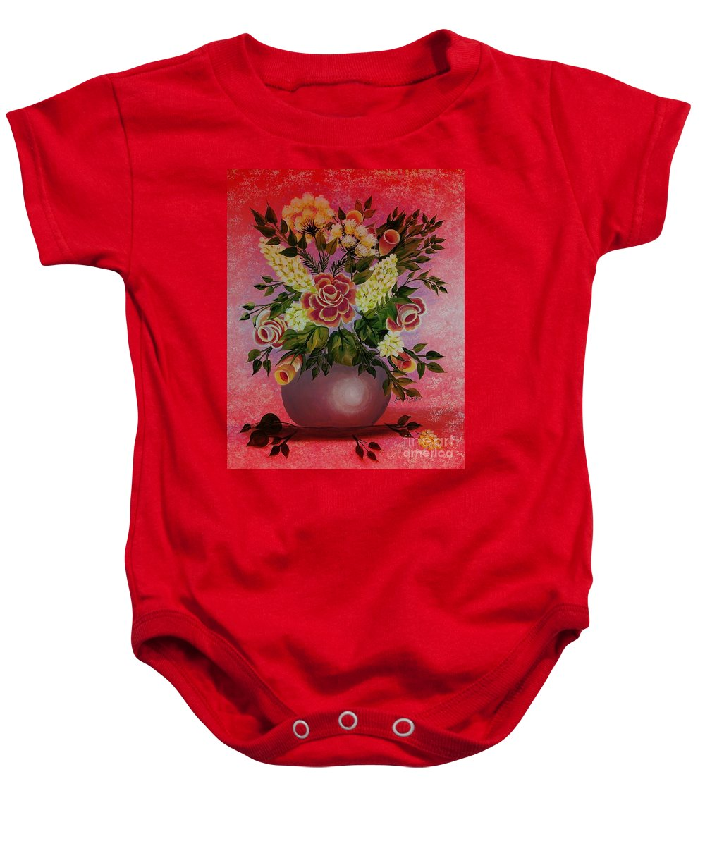 Flowers With Red Background Baby Onesie featuring the painting Flowers With Red Background by Barbara Griffin