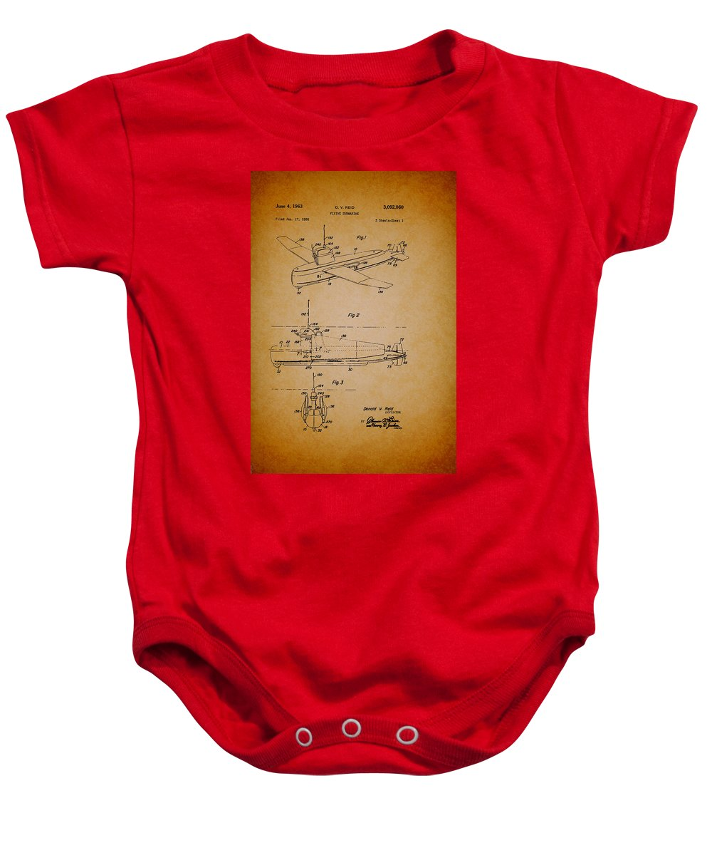 Patent Baby Onesie featuring the drawing Flying Submarine Patent by Mountain Dreams