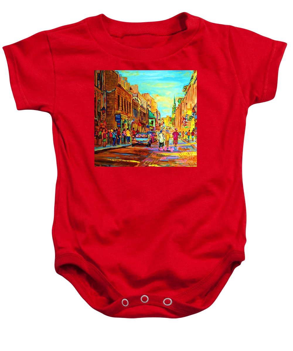 Montreal Baby Onesie featuring the painting Follow The Yellow Brick Road by Carole Spandau
