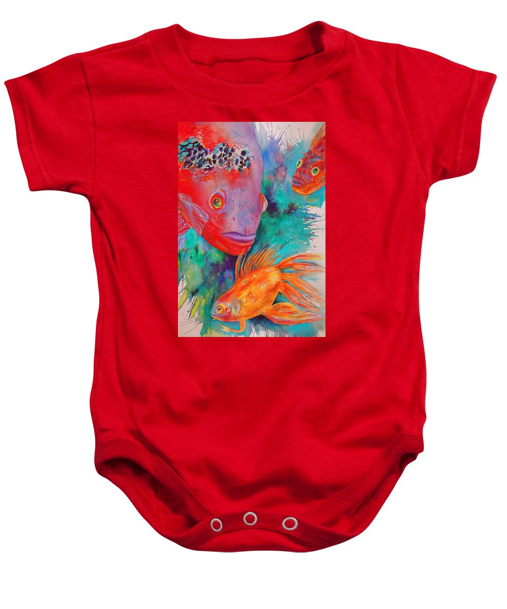 Brilliant Colored Fish Baby Onesie featuring the painting Freddy Fish And Friends by Karen bertha Calderon