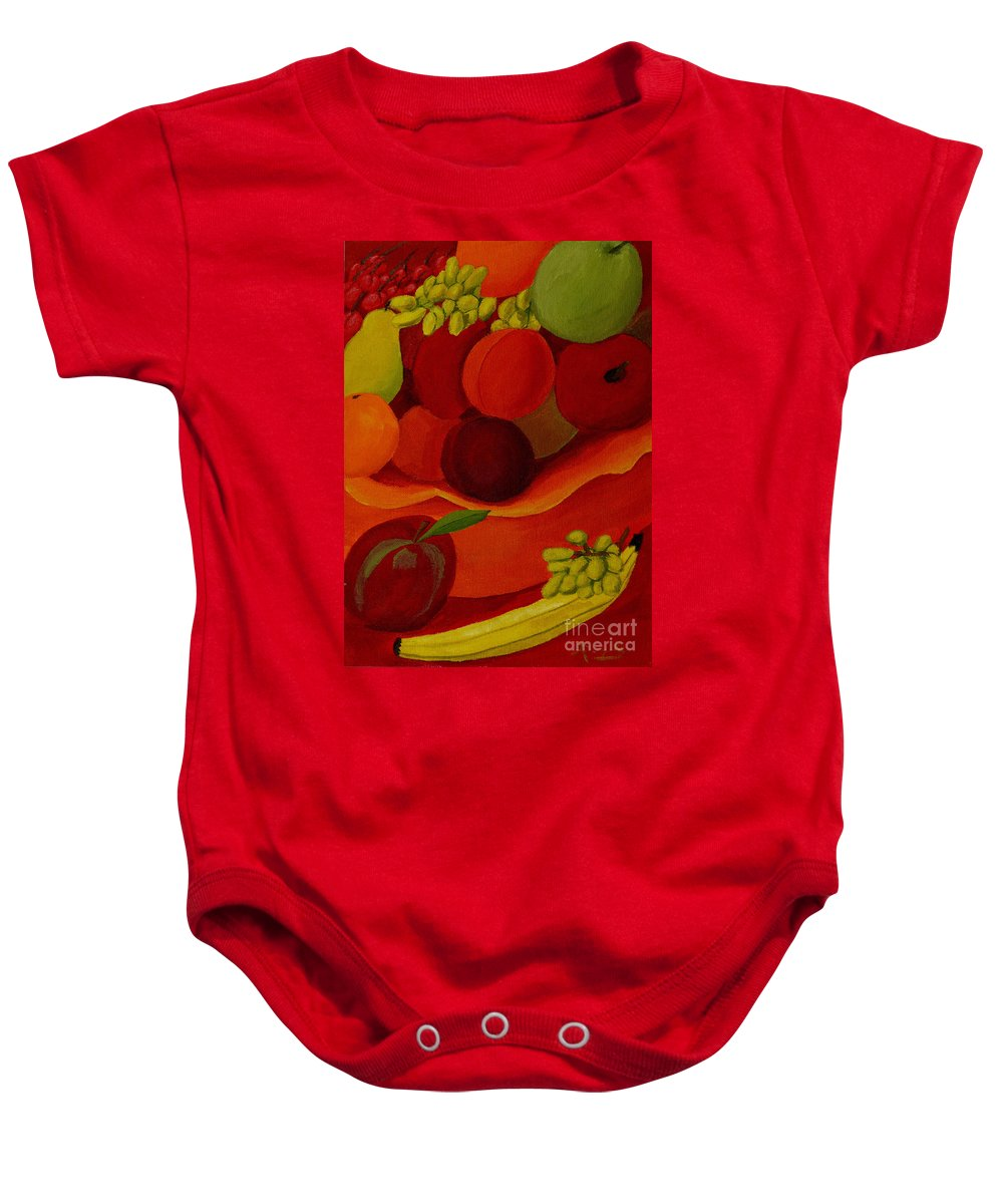 Fruit Baby Onesie featuring the painting Fruit-still Life by Anthony Dunphy