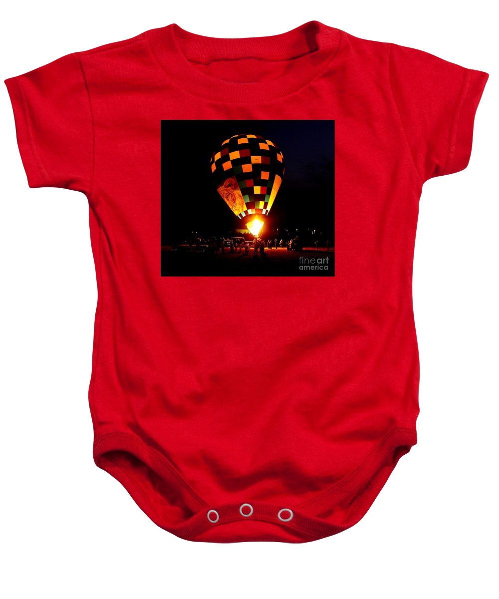 Balloon Baby Onesie featuring the photograph Gathering For Night Glow by Robert Frederick