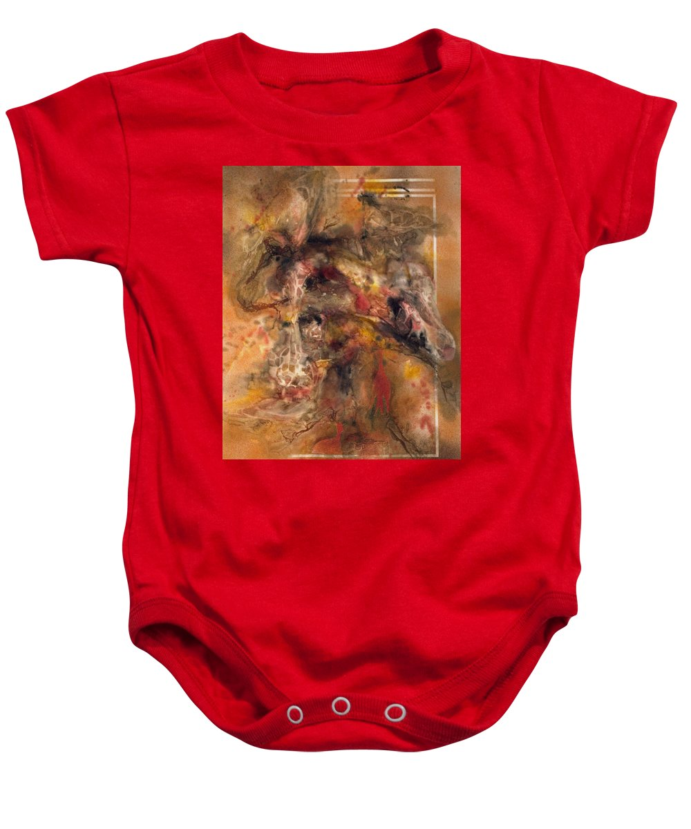 In Focus Baby Onesie featuring the mixed media Giraffes by Sharon K Wilson
