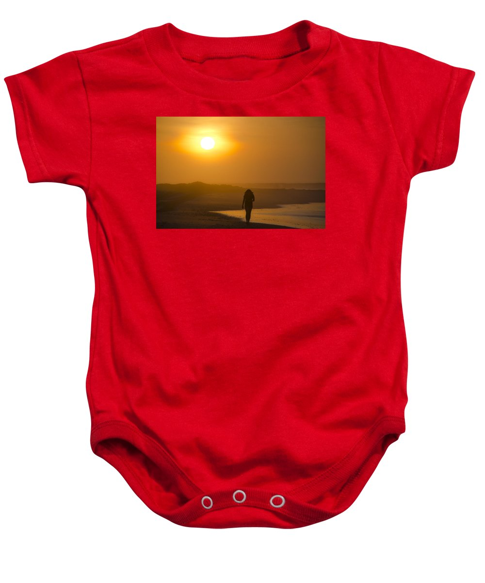 Girl Baby Onesie featuring the photograph Girl On The Beach by Bill Cannon