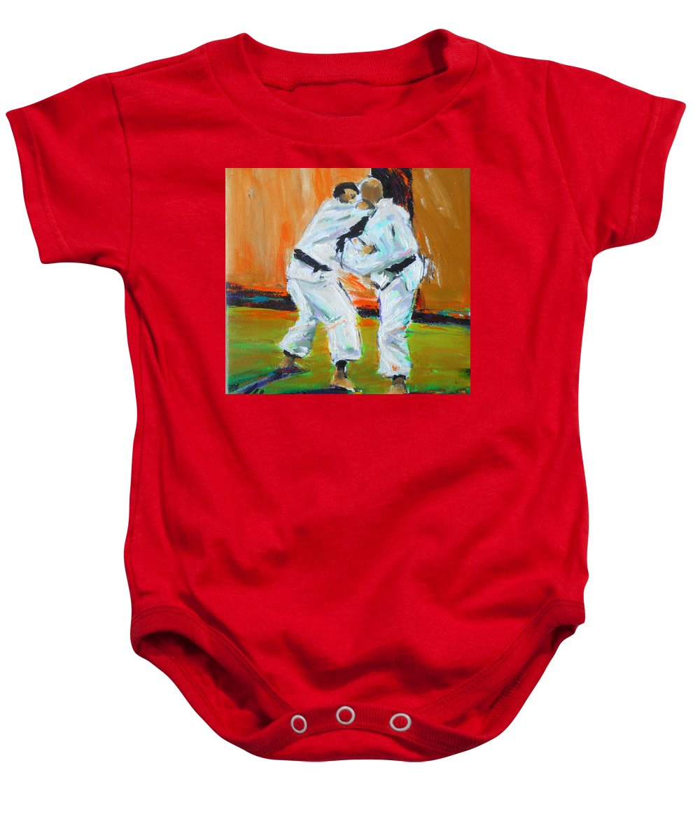 Karate Baby Onesie featuring the painting Go by Lucia Hoogervorst