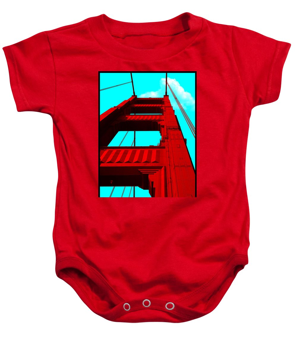 Gary Grayson Baby Onesie featuring the digital art Golden Gate Bridge by Gary Grayson