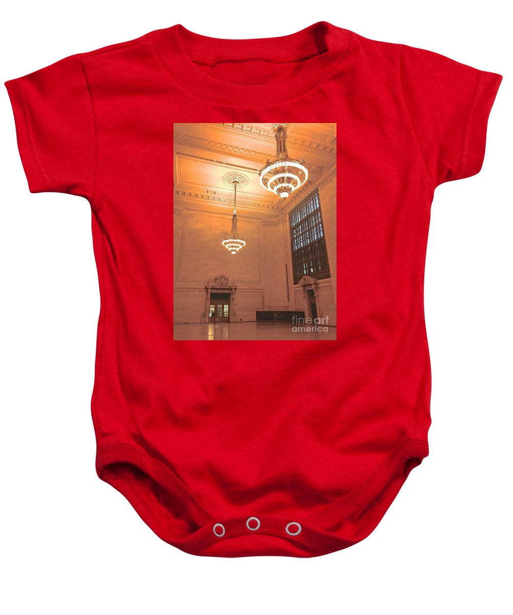 Chandeliers Baby Onesie featuring the photograph Grand Central Terminal Chandeliers by Christy Gendalia