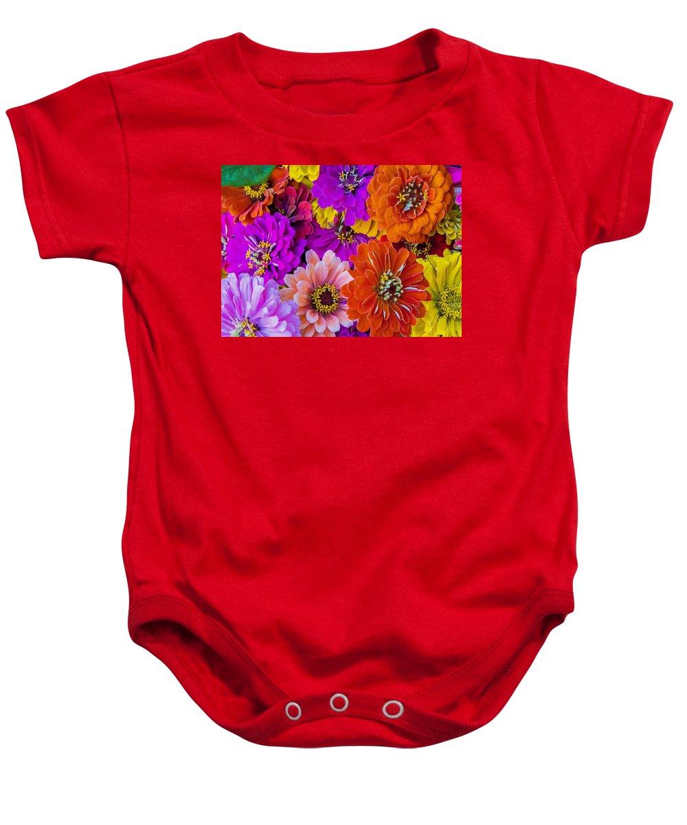 Flowers Baby Onesie featuring the photograph Grandma's Zinnias by Deb Buchanan