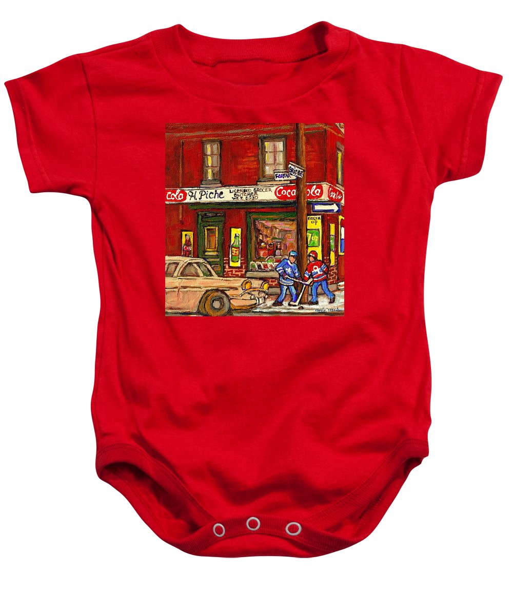 Piche's Corner Grocery Store Baby Onesie featuring the painting H. Piche Grocery - Goosevillage -paintings Of Montreal History- Neighborhood Boys Play Street Hockey by Carole Spandau
