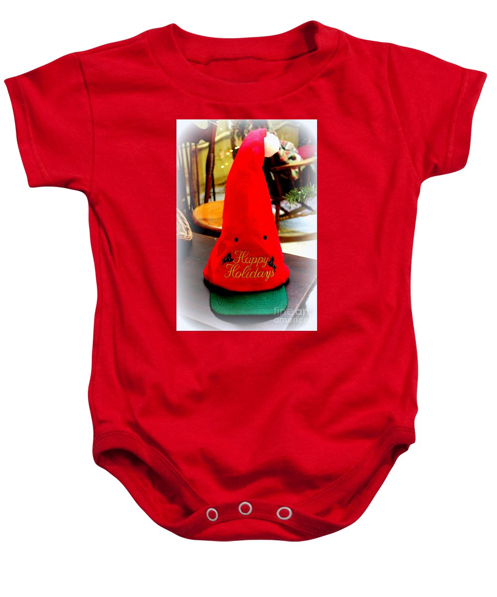 Christmas Greeting Cards Baby Onesie featuring the photograph Happy Holidays Greeting by Kathy White