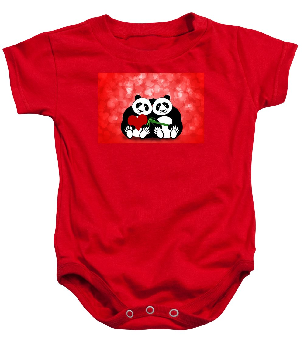 Happy Baby Onesie featuring the photograph Happy Valentines Day Panda Couple Hearts Bokeh by David Gn