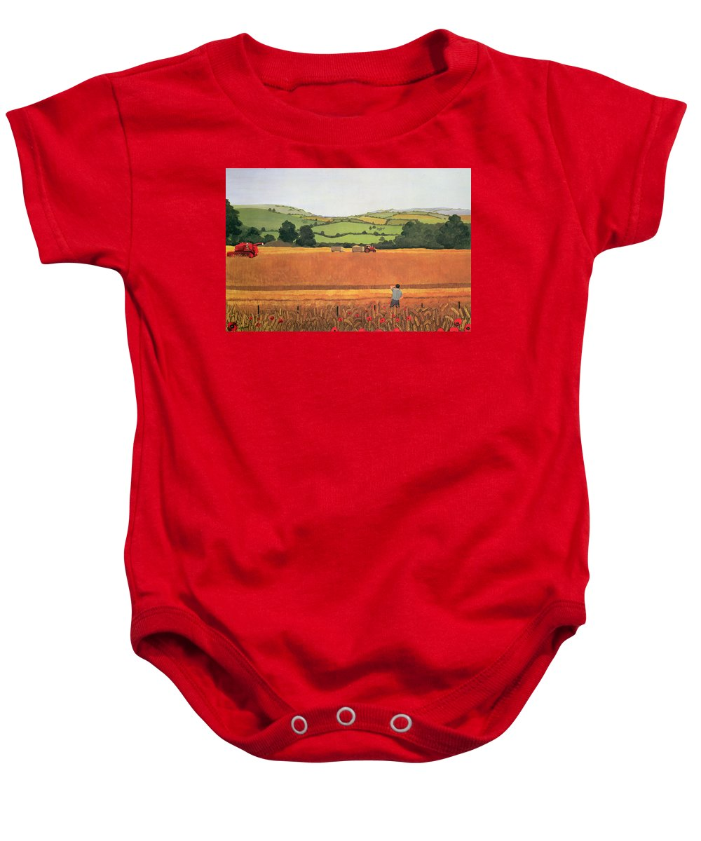 Tractor Combine Harvester Sheaves Poppy Baby Onesie featuring the photograph Harvesting In The Cotswolds by Maggie Rowe