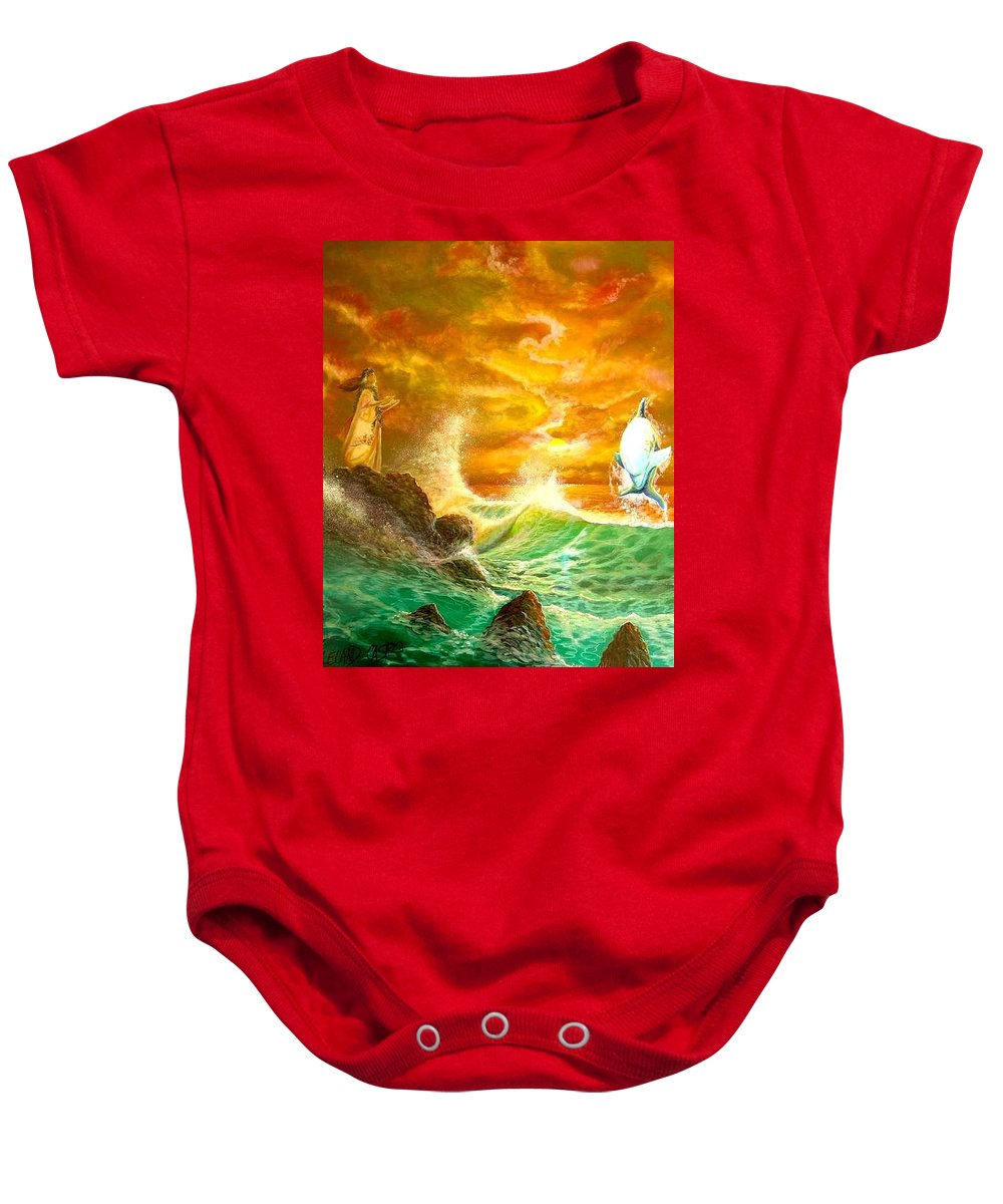 Hawaii Seascape Baby Onesie featuring the painting Hawaiian Spirit Seascape by Leland Castro