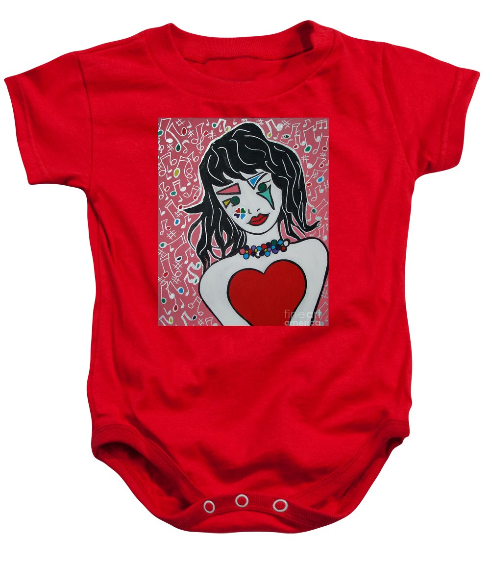 Pop Art Baby Onesie featuring the painting Heart Bit by Silvana Abel