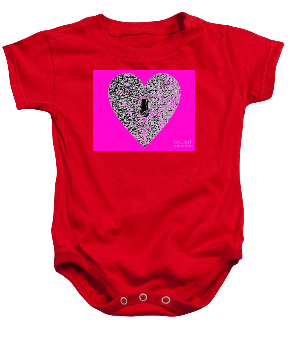 Heart Baby Onesie featuring the photograph Heart Shaped Lock - Pink by Al Powell Photography USA