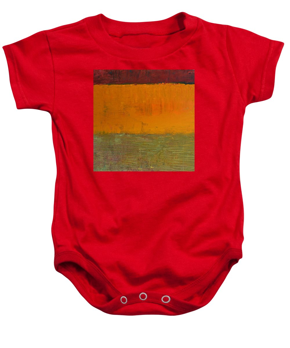 Abstract Expressionism Baby Onesie featuring the painting Highway Series - Grasses by Michelle Calkins