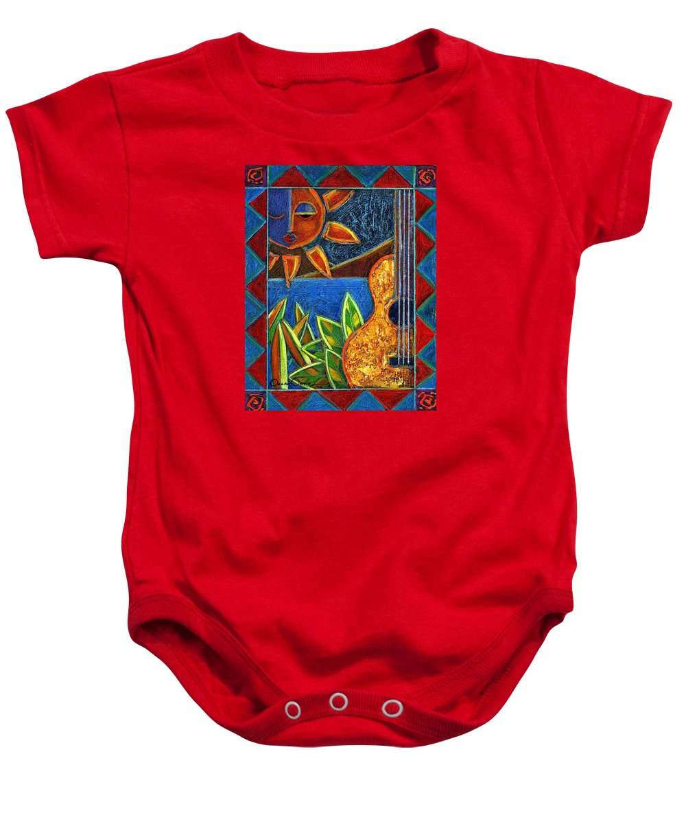 Guitar Baby Onesie featuring the painting Hispanic Heritage by Oscar Ortiz