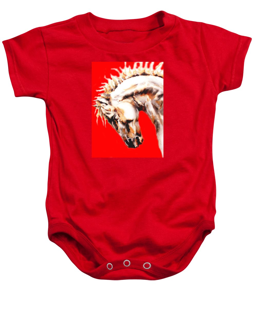 Horse Baby Onesie featuring the painting E  P  I  C  U  S  In Red by J - O  N  E