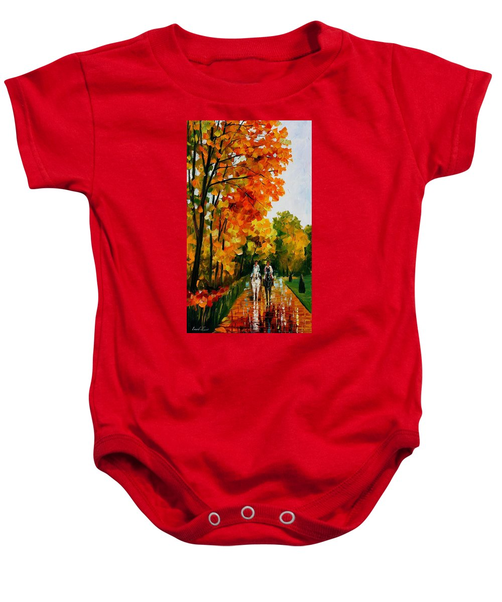 Oil Paintings Baby Onesie featuring the painting Horseback Stroll - Palette Knife Oil Painting On Canvas By Leonid Afremov by Leonid Afremov