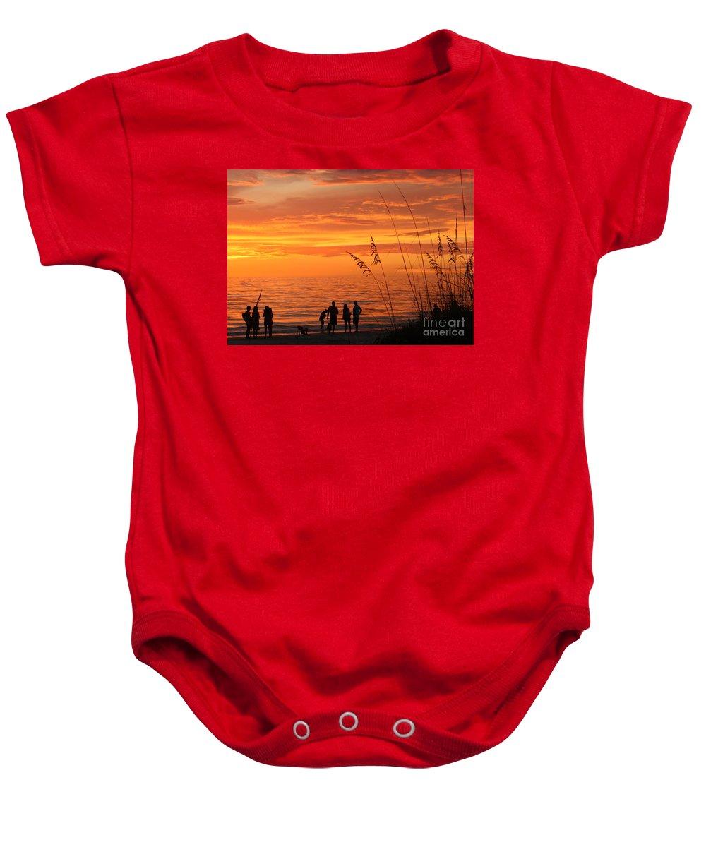 Sunset Baby Onesie featuring the photograph Hot Sunset by Irina Davis